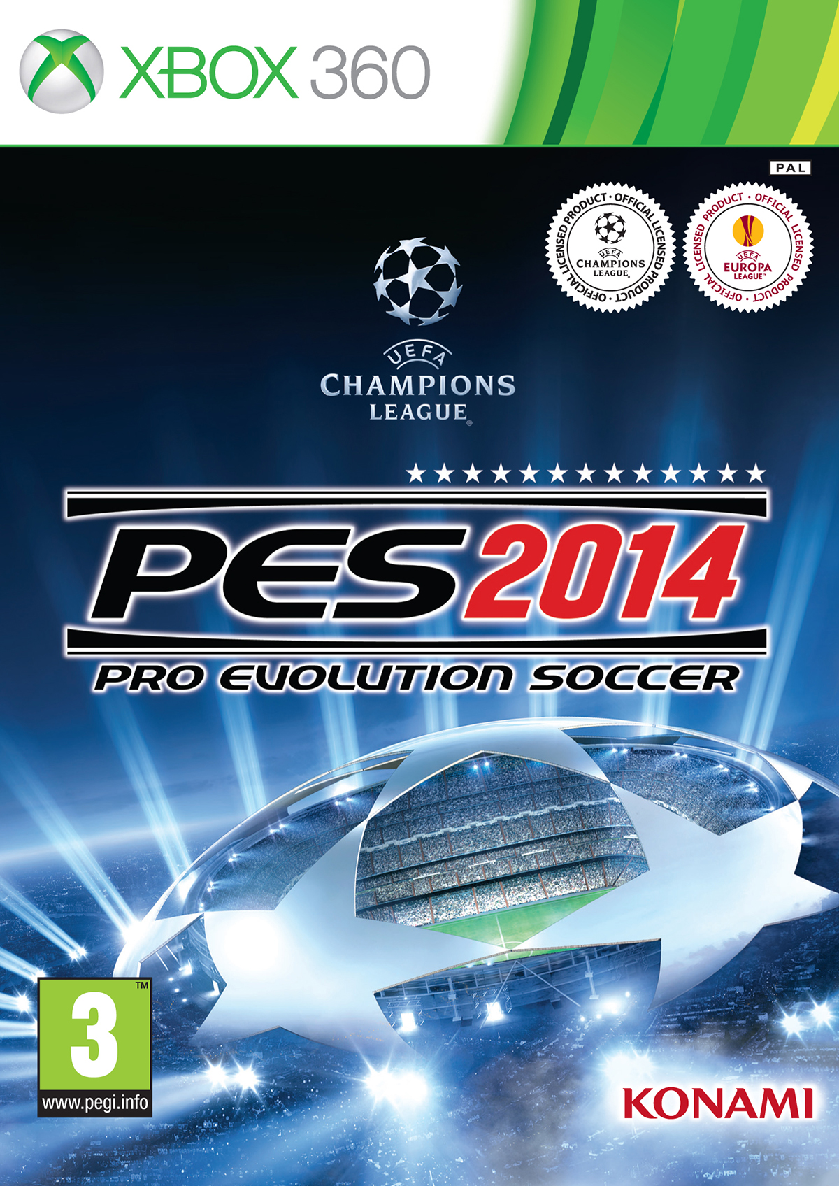 Cover von Pro Evolution Soccer 2014 mit Logo der UEFA Champions League