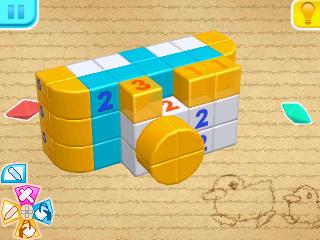 Screenshot: ein Block aus einzelnen Würfeln mit Zahlen darauf und einige davon eingefärbt