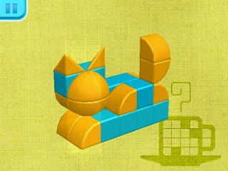 Screenshot: eine Katzenfigur aus Bausteinen