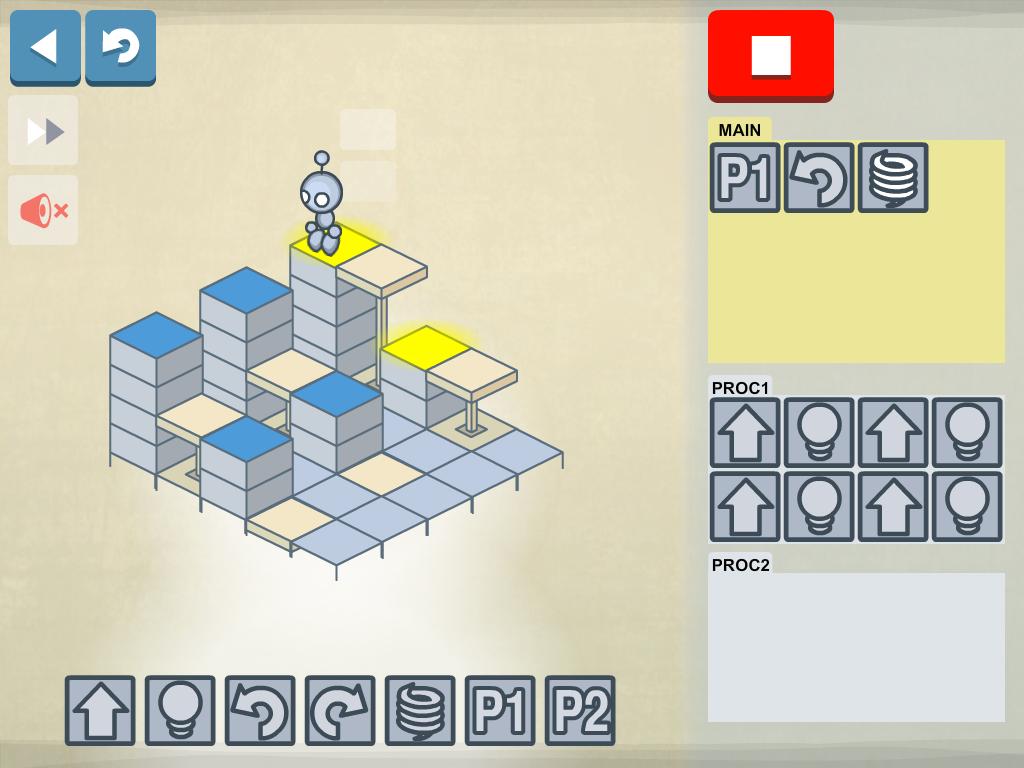 Screenshot: Der Roboter steht vor zwei Schluchten
