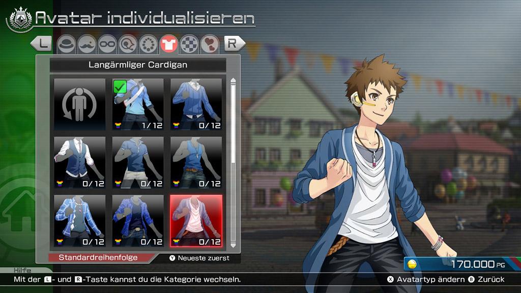 Screenshot: Inventar mit Kleidungsstücken