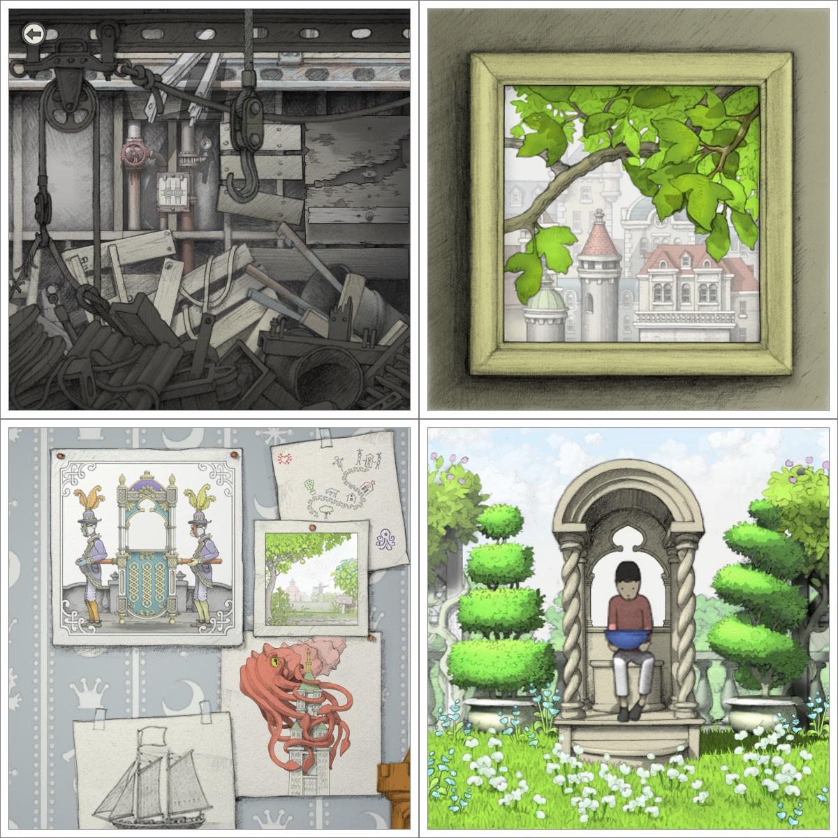 Screenshot: Bilder eines Hakens, eines Astes mit Blättern, einer Wand mit mehreren Zeichnungen und eines Buben, der in einem Pavillon sitzt