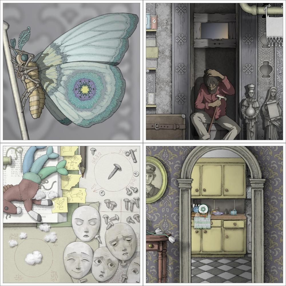 Screenshot: Vier Bilder eines Schmetterling, eines alten Manns, eines Stofftiers und einer Küche