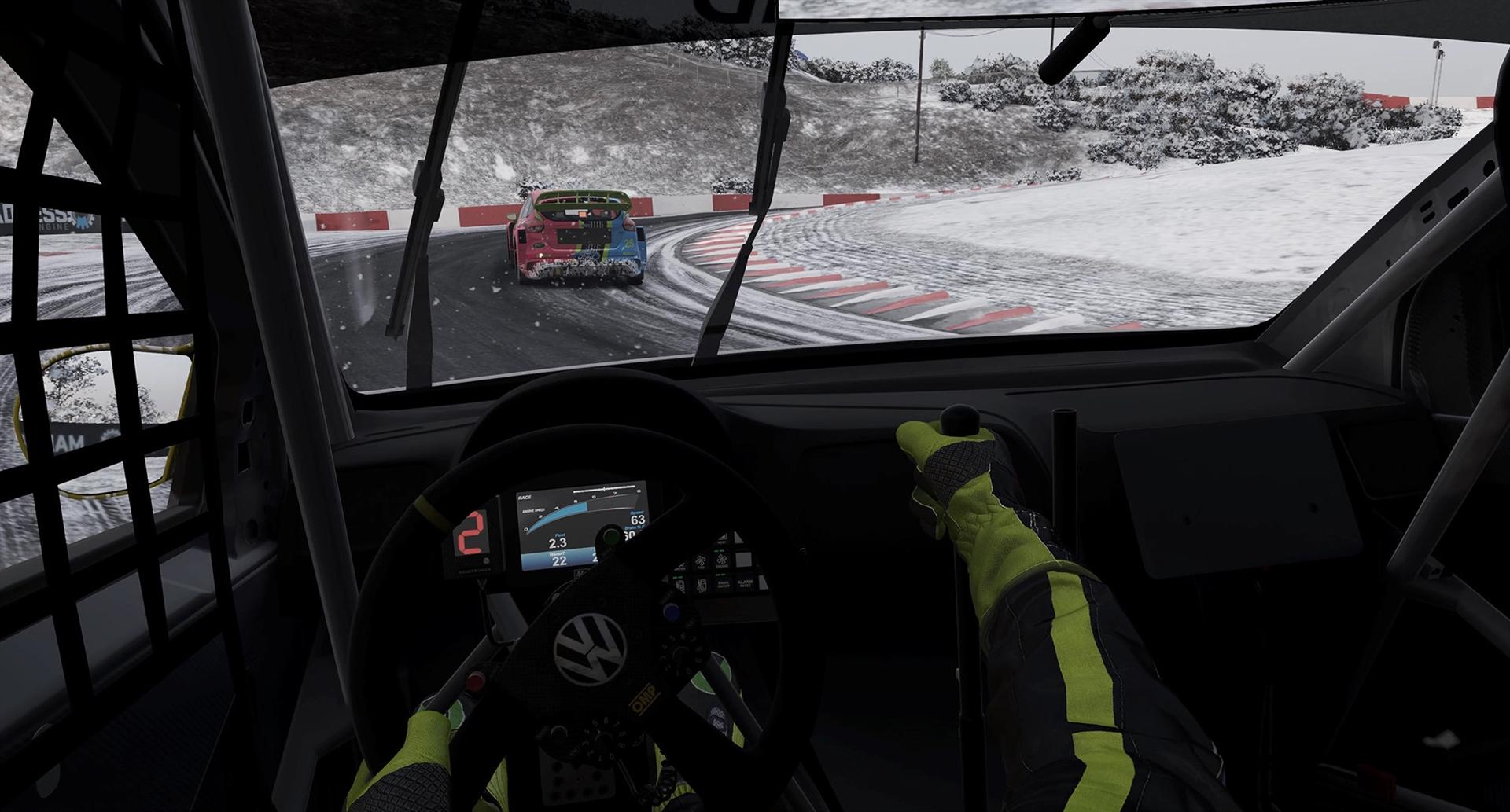 Screenshot: Autorennen bei winterlichen Verhältnissen