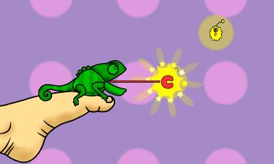Screenshot: ein Chamäleon schnappt nach gelben Insekten