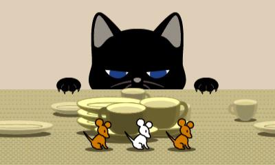 Screenshot: eine Katze lauert drei Mäusen auf