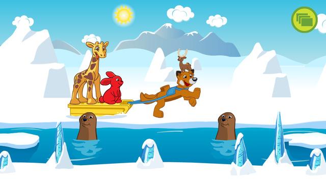 Screenshot: Hase und Giraffe lassen sich von einem Hund auf einem Schlitten durch eine Schneelandschaft ziehen.