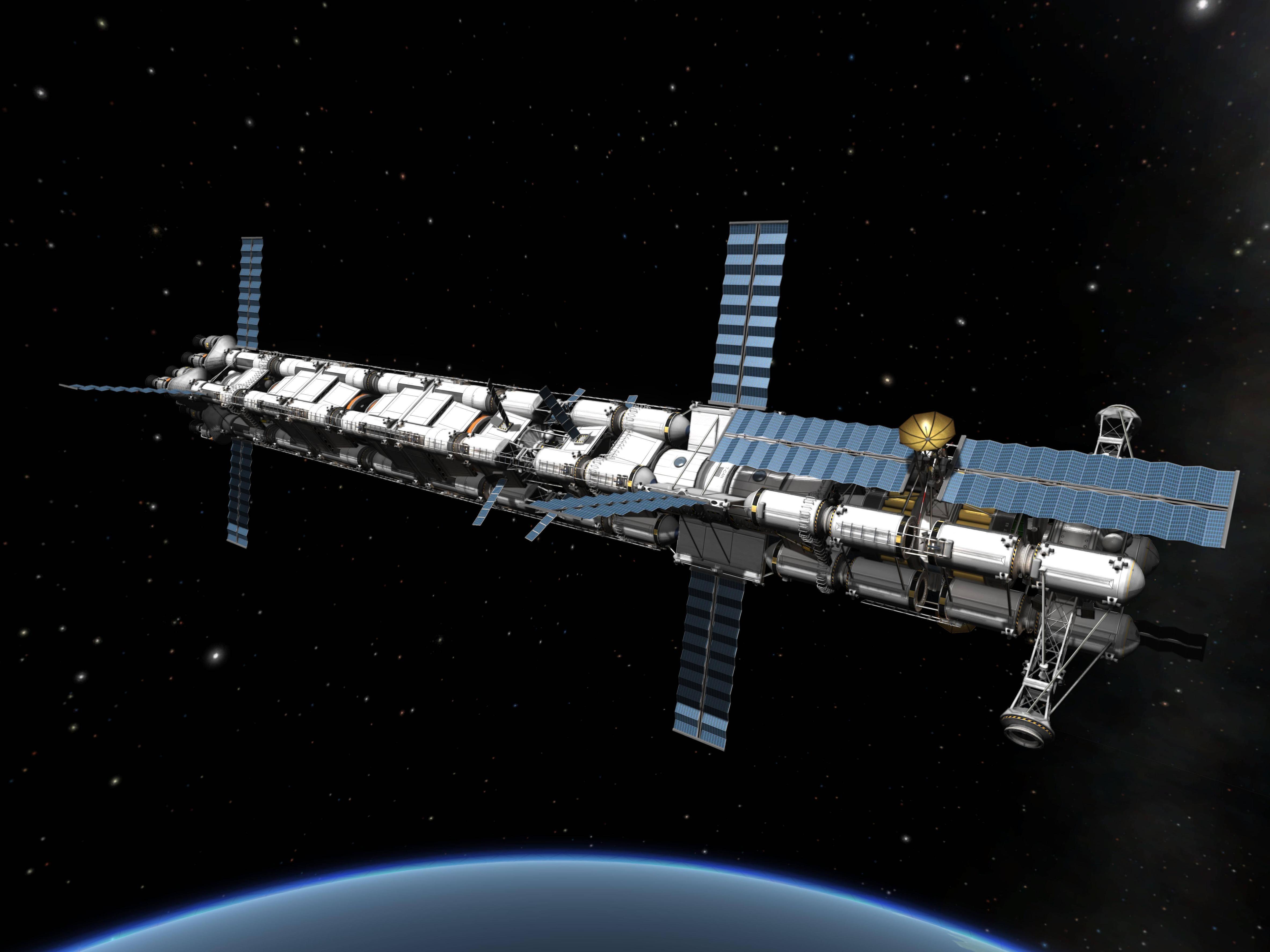 Eine Raumstation mit Solarsegeln, die um den Planeten Kerbal kreist