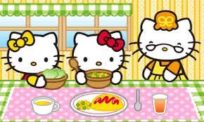 Hello-Kitty Familie sitzt am Tisch und isst