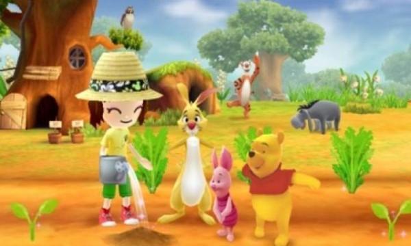 Winnie the Pooh mit Ferken und Rabbit, im Hintergrund seine Freunde