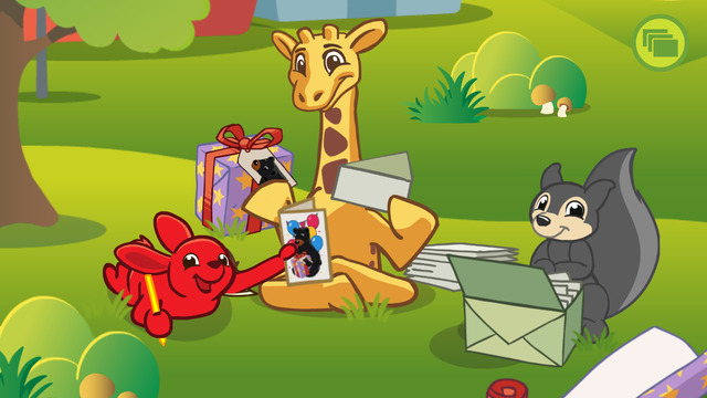 Screenshot: Ein roter Hase, eine Giraffe und ein Eichhörnchen erstellen Einladungen für die Bärenfeier.