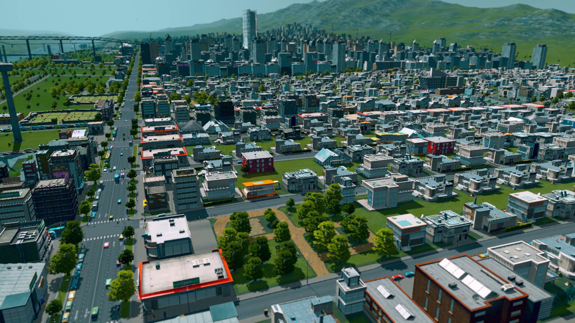 Der Screenshot zeigt die Ansicht eines Wohnviertels mit kleinen Häusern und vielen Details.