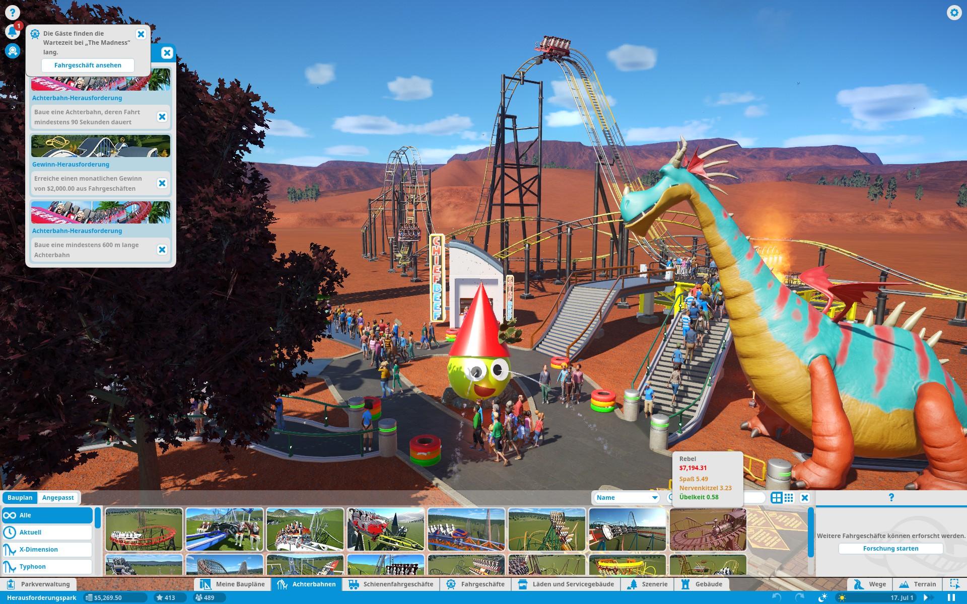 Screenshot: Über das Menü stehen unterschiedliche Achterbahnen zur Verfügung. Mittels Hinweisen werden Herausforderungen angezeigt. Im Vergnügungspark steht ein großer Dinosaurier.