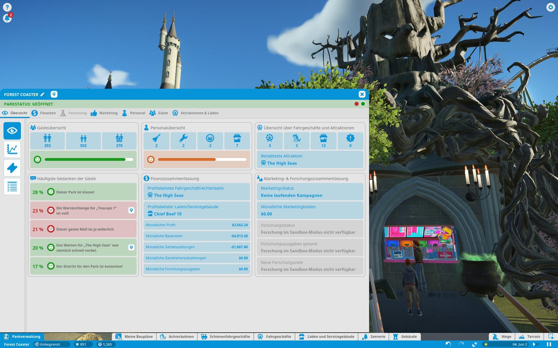 Screenshot: Im Parkverwaltungsmenü werden die Bedürfnisse der Gäste angezeigt.