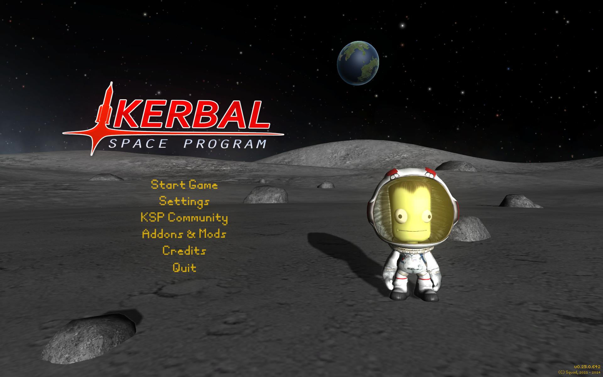 Startmenü von Kerbal Space Program
