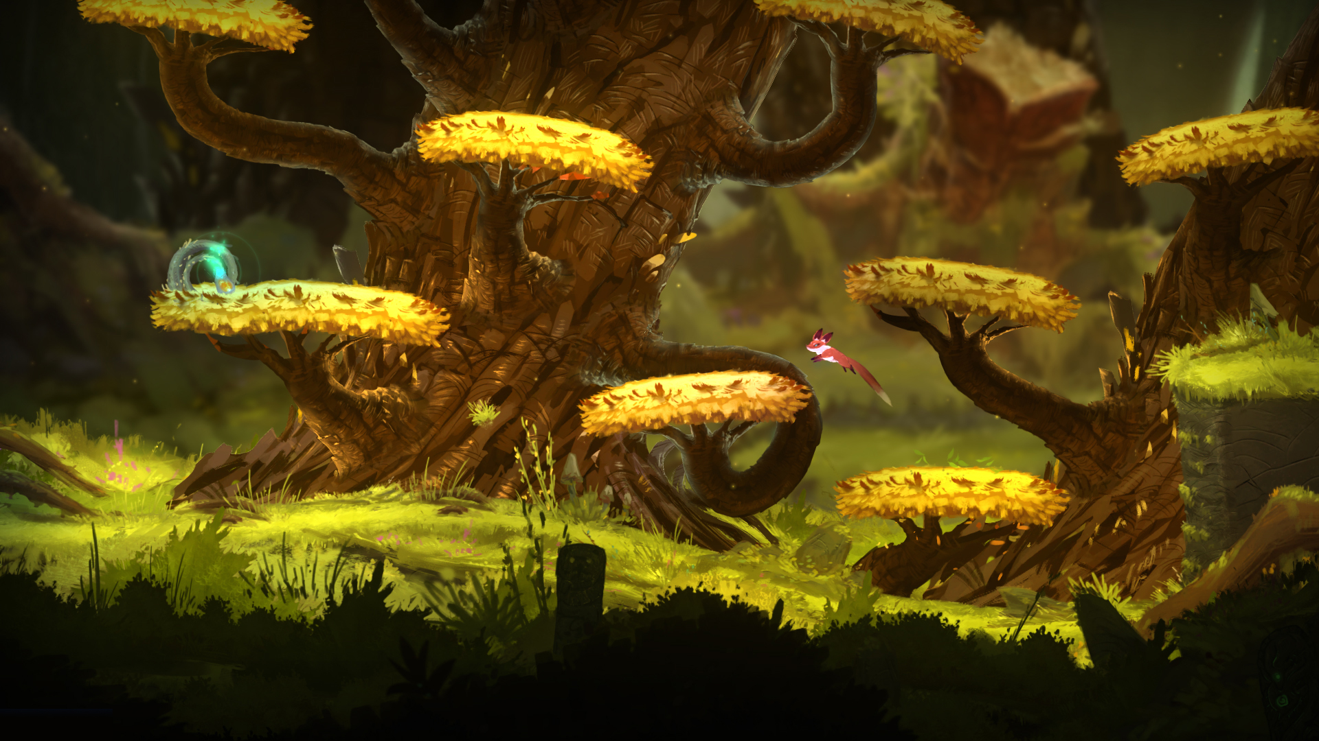 Screenshot: Ein Fuchs springt auf Ästen.