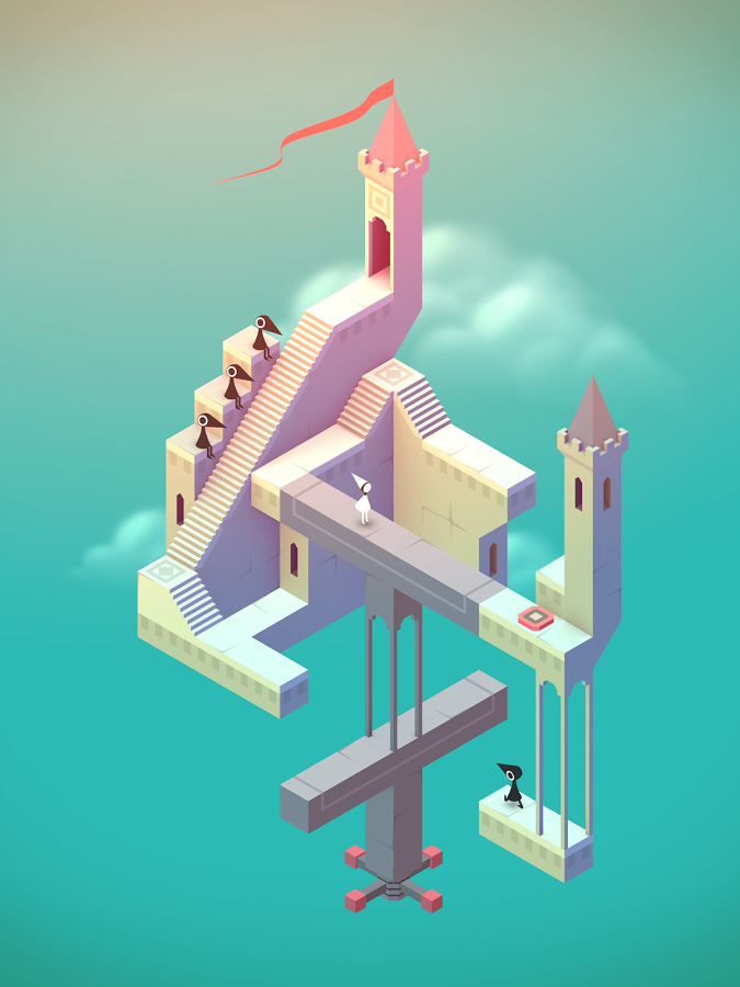 Schwebendes Gebäude mit Türmen, sitzenden Raben und der Prinzessin