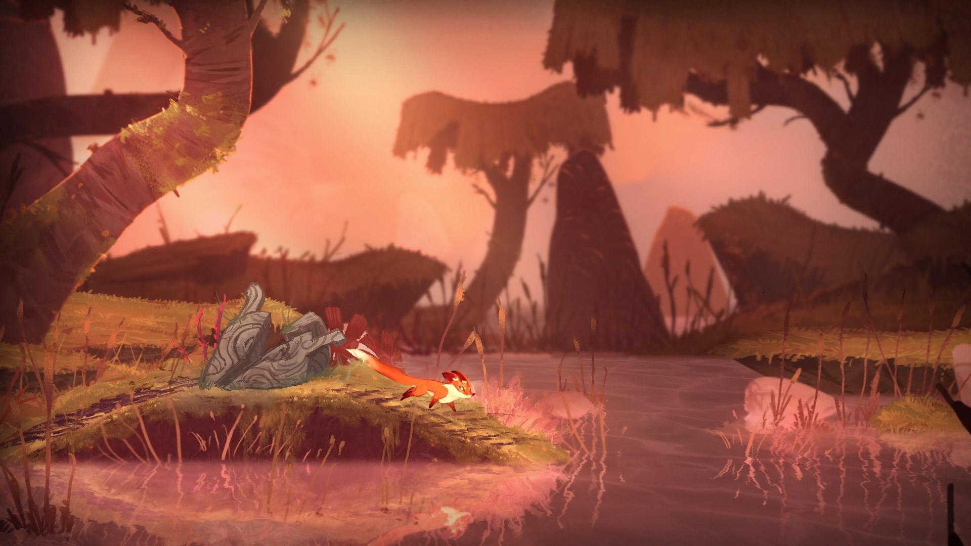 Screenshot: Ein Fuchs steht vor einem Teich.