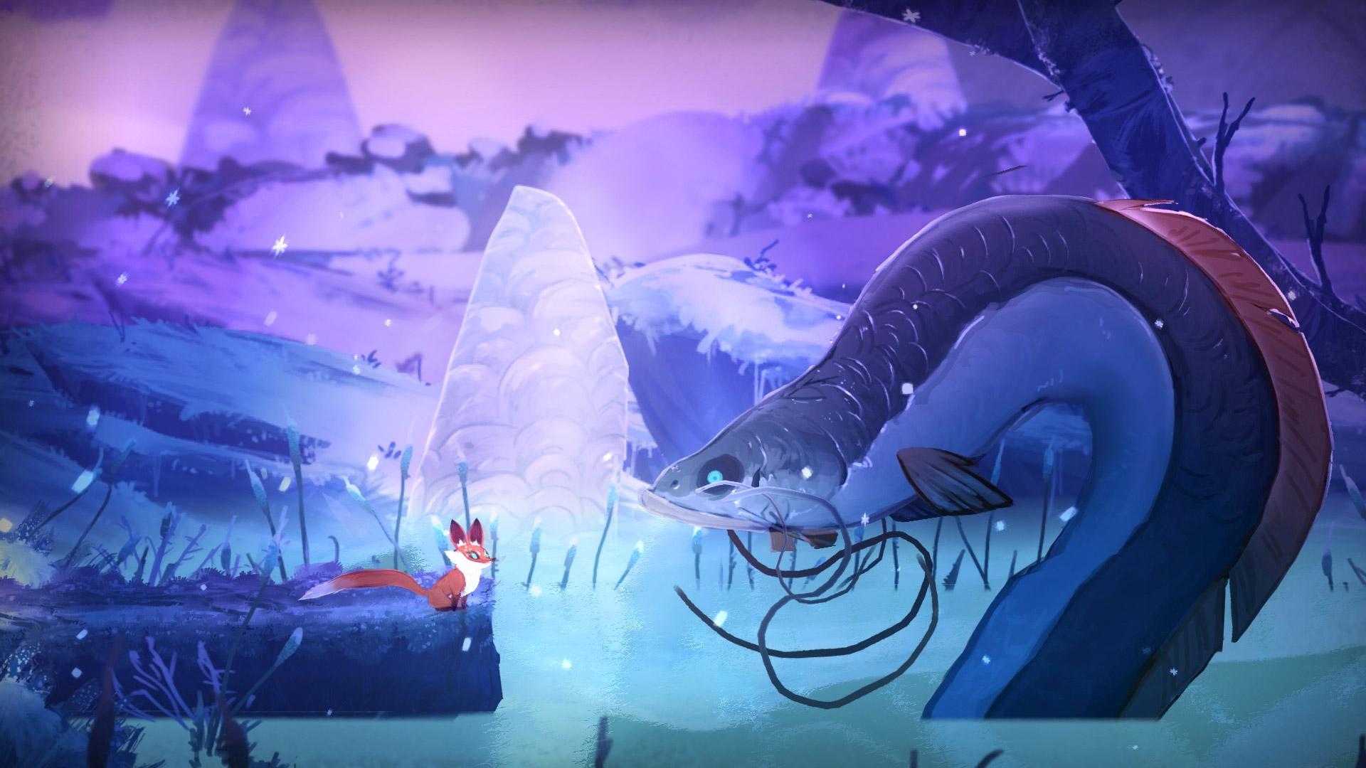 Screenshot: Ein Fuchs steht vor einem großen Aal.