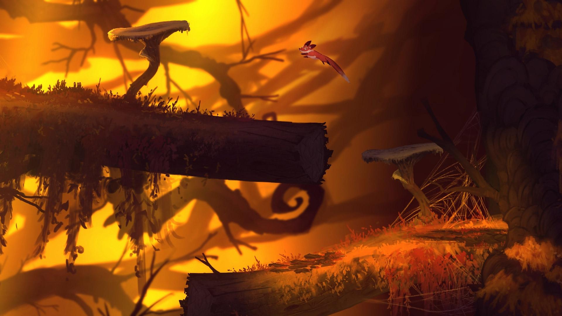 Screenshot: Ein Fuchs springt von einem Pilz auf einen Stamm.