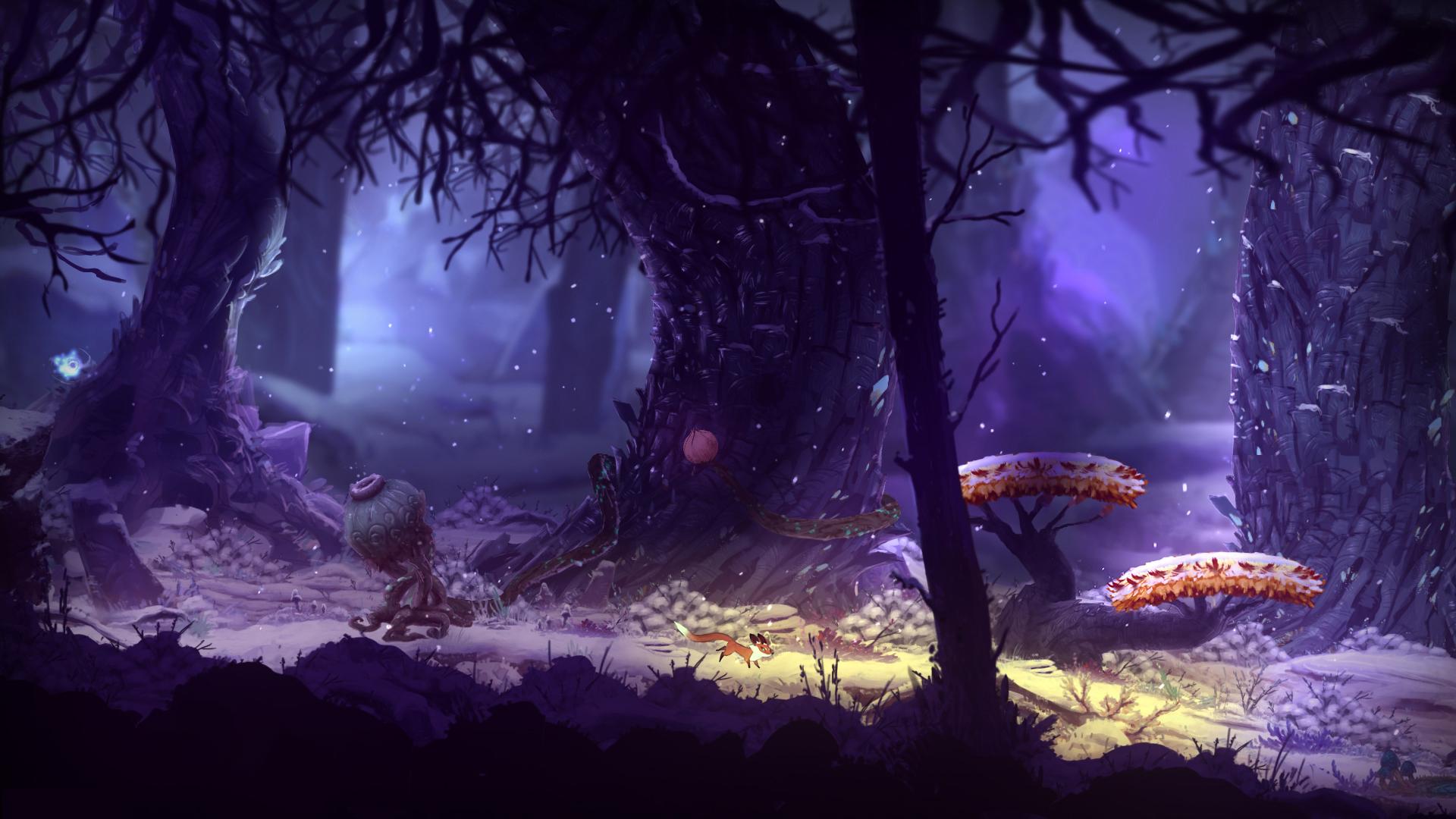 Screenshot: Ein Fuchs läuft durch eine Winterlandschaft.