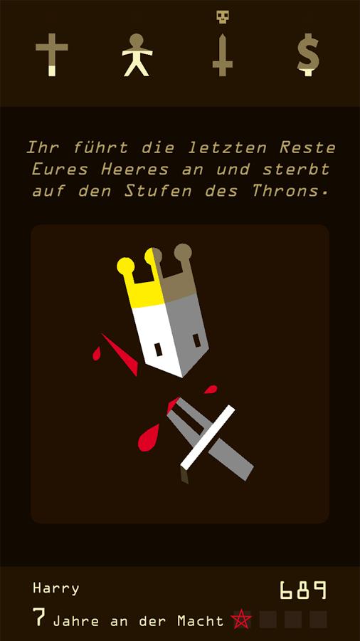 Screenshot: Karte mit einem Königskopf und einen blutigem Schwert. Aufschrift: Ihr führt die letzten Reste Eures Heeres an und sterbt auf den Stufen des Throns.