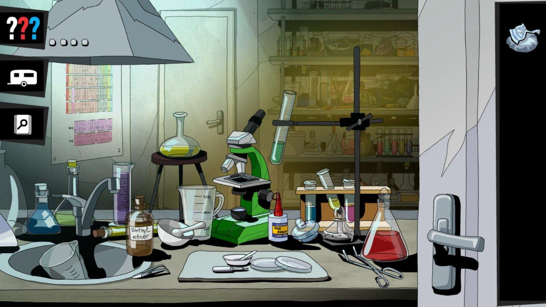 screenshot: Ein unaufgeräumter Labortisch.