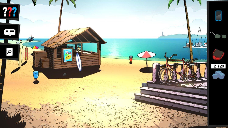 screenshot: Strandabschnitt mit Strandbar.