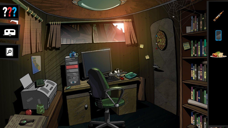 screenshot: Ein kleines unaufgeräumtes Büro.
