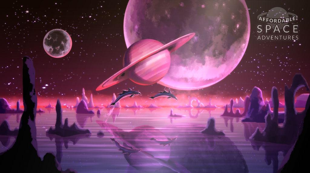 Cover: delphinartige Fische mit drei Rückenflossen und im Hintergrund drei Planeten