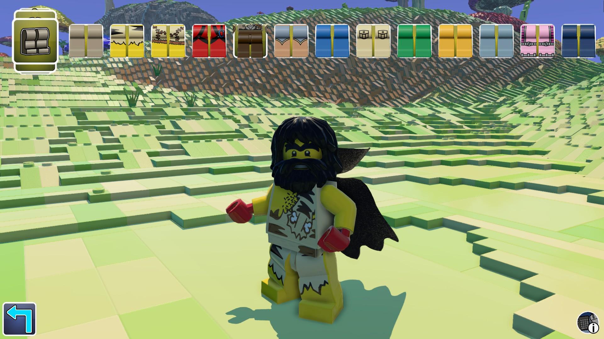 Screenshot: LEGO-Charakter mit dichtem Bart und langen schwarzen Haaren, der mit Fellen bekleidet ist. Am oberen Bildrand ist ein Auswahlmenü mit verschiedenen LEGO-Beinen, die unterschiedliche Kleidungsmuster aufweisen