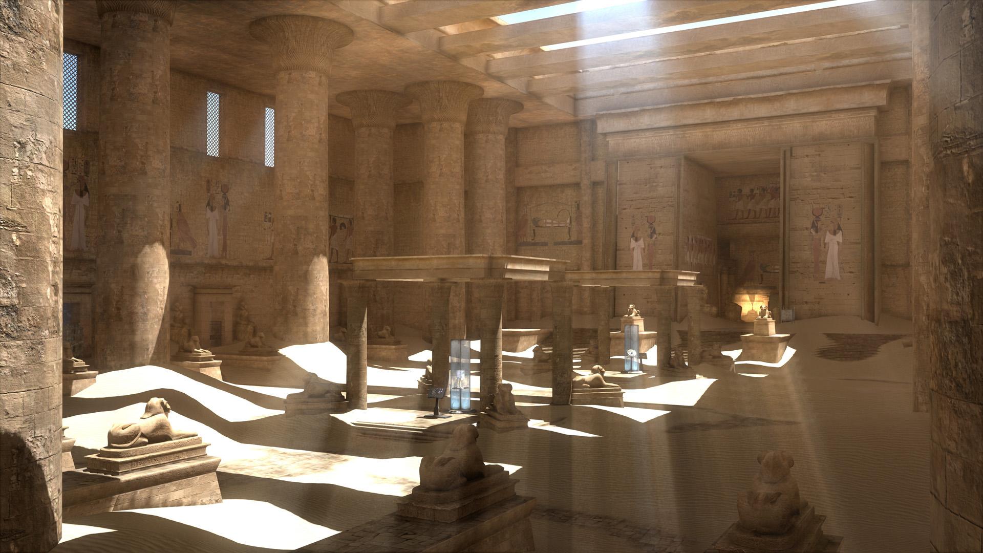 Screenshot: Ein ägyptisch wirkender Tempel in dem zwei moderne, computerartige Gerätschaften stehen.