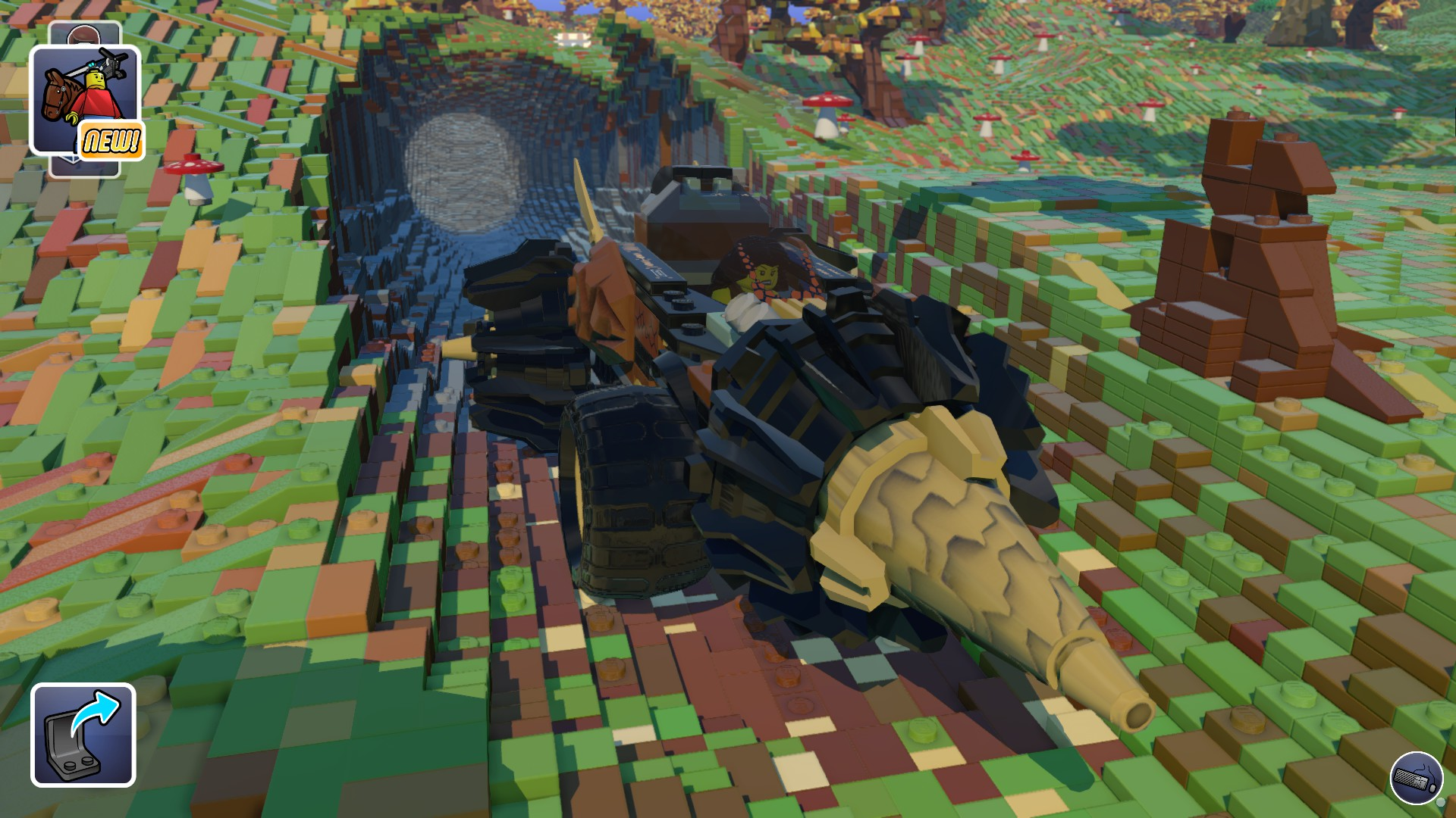 Screenshot: Ein weiblicher LEGO-Charakter steuert einen vierrädrigen Tunnelbohrer aus einem gebohrten Loch in der LEGO-Landschaft