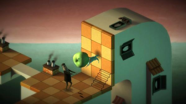 Screenshot: Subob verschiebt auf einer senkrechten Wand einen Apfel, um Bob vor dem Hinunterstürzen zu bewahren.