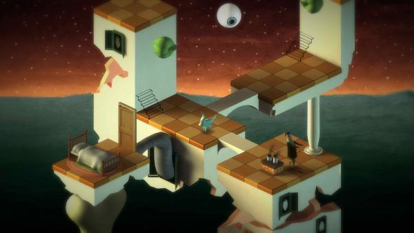 Screenshot: Eine schwebende Plattform mit surrealistischen Elementen, wie einem Auge als Mond oder Äpfel, welche auf einer senkrechten Oberfläche liegen.