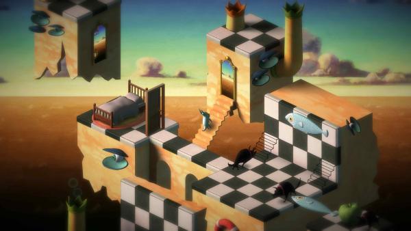Screenshot: Das Bild zeigt eine weitere surrealistische Spielwelt mit gegnerischen Traumwesen auf einem gemalten Hintergrund.