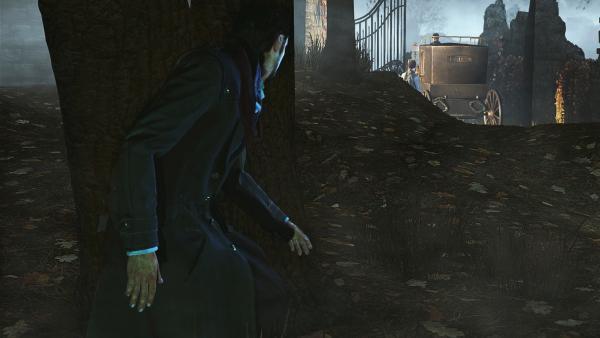 Screenshot: Sherlock versteckt sich hinter einem Baum