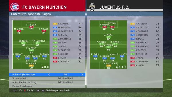 Screenshot: zeigt den Bildschirm für die Änderungsmöglichkeiten der Aufstellung und Formation.