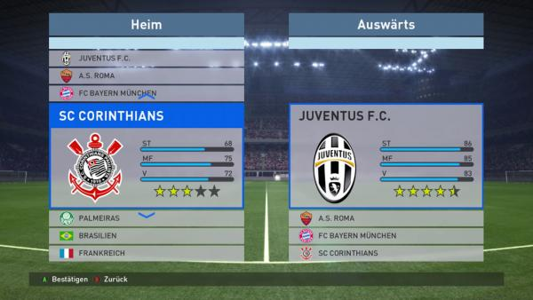 Screenshot: zeigt den Auswahlbildschirm der Mannschaften.