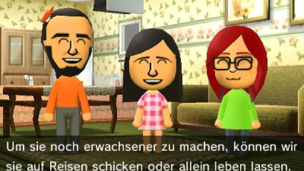 """Screenshot von """"Tomodachi Life"""" mit 3 Mii im Gespräch"""