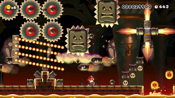 Screenshot: Ein Festungs-Level mit Lava und vielen feurigen Gegnern in moderner Grafik.