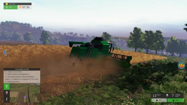 Screenshot: Ein Mähdrescher beim Abernten eines Weizenfeldes.