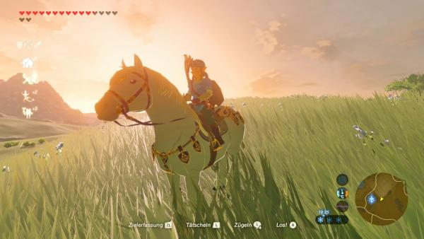 Screenshot: Link reitet auf einem Pferd, umgeben von einer Graslandschaft.