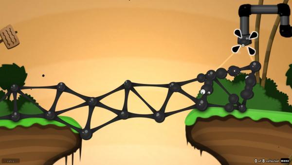 Screenshot: Eine Brücke zum Rohr wurde mit schwarzen Bällen gebaut.