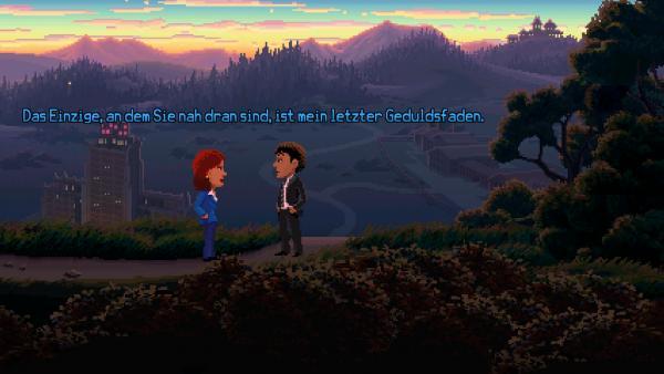 Screenshot: Zwei AgentInnen auf einem Hügel vor einer Stadt.