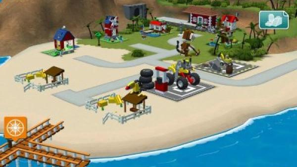 Screenshot: Eine kleine Insel mit verschiedenen Lego-Gebäuden.