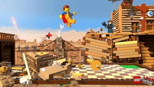 LEGO-Figur springt durch eine Stadt