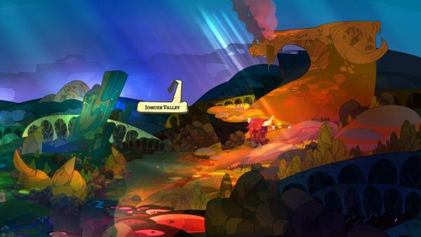 Screenshot: Ein kleiner Holzwagen steht inmitten einer handgezeichneten Fantasielandschaft.