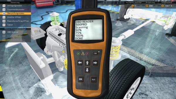 Screenshot: Ein Messgerät vor einem teilweise durchsichtig dargestellten Motorraum.