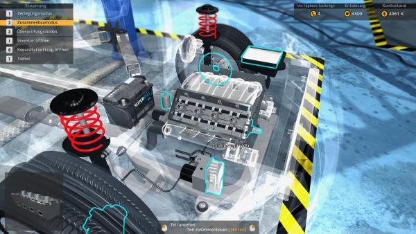 Screenshot: Ein teilweise durchsichtiger Motorraum. Einzelne Teile sind türkis markiert.